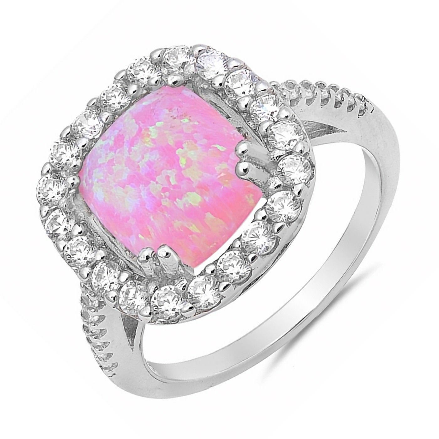 Amazon.com: Halo Lab Created Opal .925 Sterling Silver Promise ...
