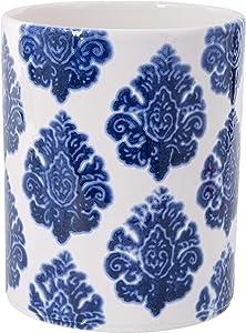 Home Essentials 93017 Big Blue Flower Stamp Utensil Crock, 7.09-inch High