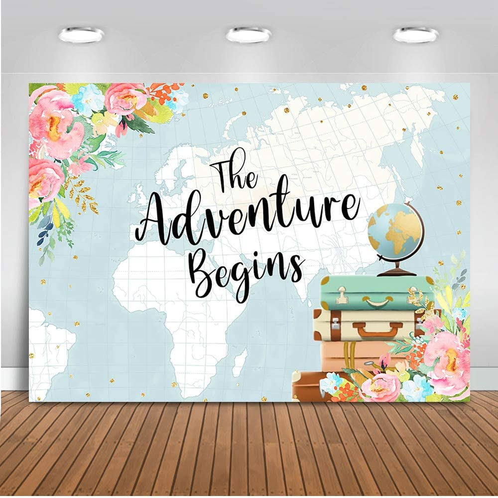 Mocsicka Adventure Begins Baby Shower Backdrop Oh The Places You'll Go Photography Background 7x5ft Vinyl Suitcase Travel Around The World Party Backdrops