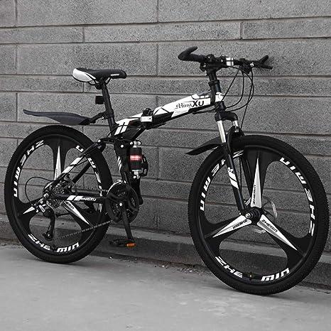 TopJiä Hombres 21 Velocidad Bicicleta De Montaña,24 Pulgadas Bicicleta Plegable,Rueda Freno De Disco Doble Absorbente De Impactos Completo Adulto Bicicleta,Bicicleta Montaña para Al Aire Libre: Amazon.es: Deportes y aire libre