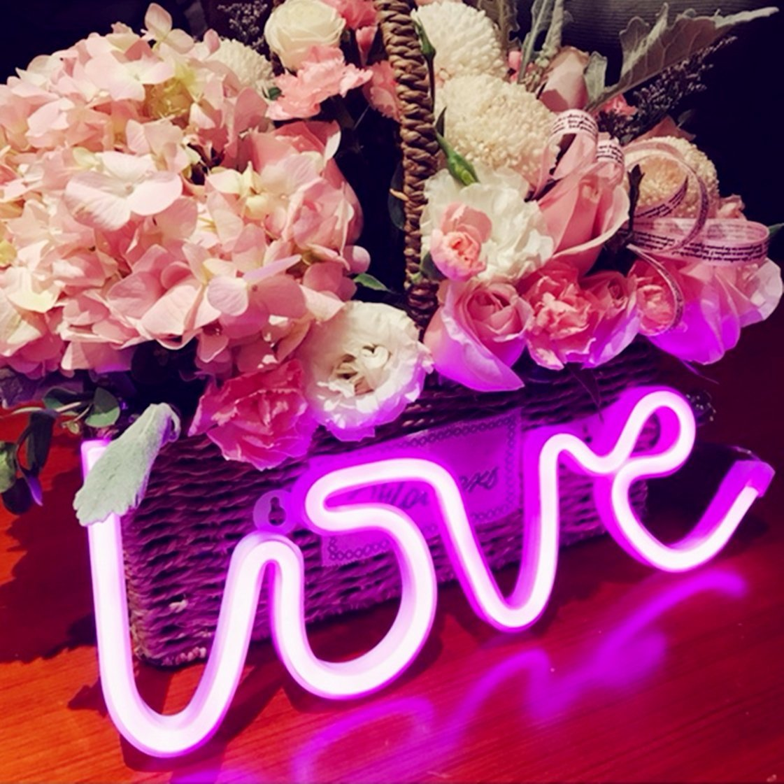 Neon Love Signs Light 13.70'' Large LED Love Art Decorative Marquee Sign - Wall Decor/Table Decor for Wedding Party Kids Room Living Room House Bar Pub Hotel Beach Recreational (Purple Pink) by QiaoFei (Image #5)