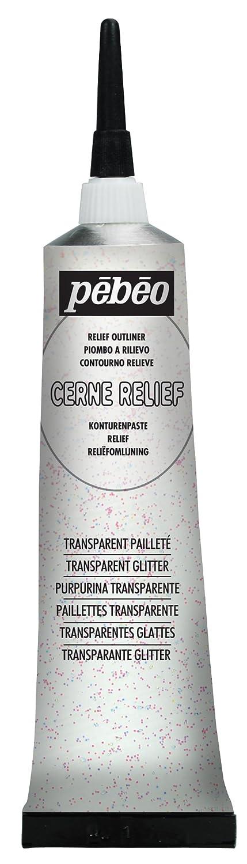 Pebeo 37 ml Vitrail Cerne Relief Glass Outliner, Glitter Transparent 775037
