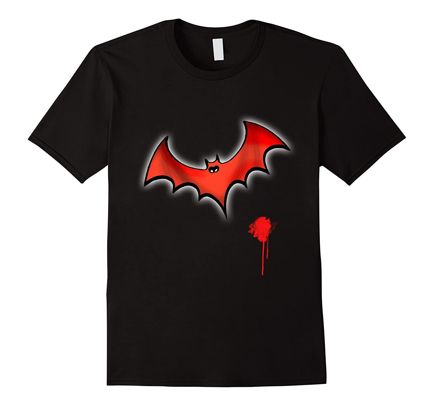 bat red halloween costume glowing trick or treet T shirt-FL