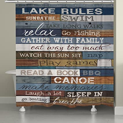 Image Unavailable Not Available For Color LR72SC Lake Rules Shower Curtain