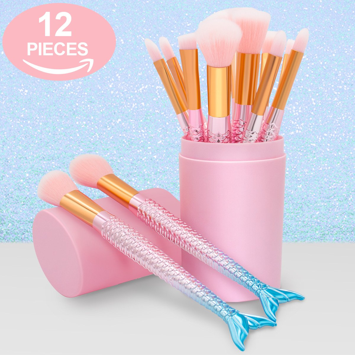 Makeup Brushes Set- Cosmetic Conceler Brushes Kit Tool 12PCS Make Up Foundation Eyebrow Eyeliner Blush Concealer Brushes Pink Mermaid Colorful