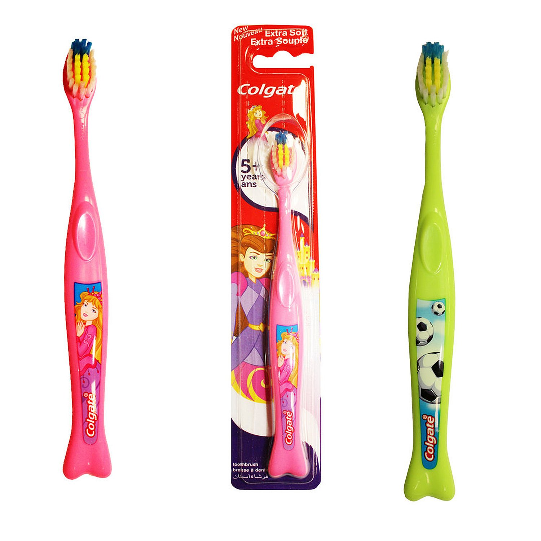 Juego de 2 cepillos de dientes Colgate para niños de 5 años +: Amazon.es: Hogar