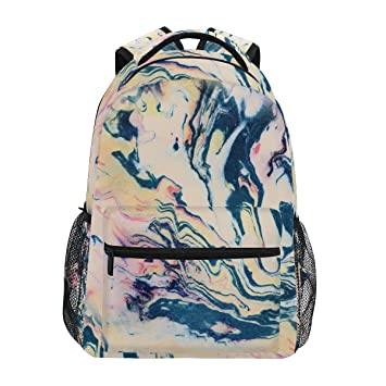 Image Unavailable. Image not available for. Color  ZZKKO Colorful Marble  Art Backpacks College School Book Bag ... 820d625598