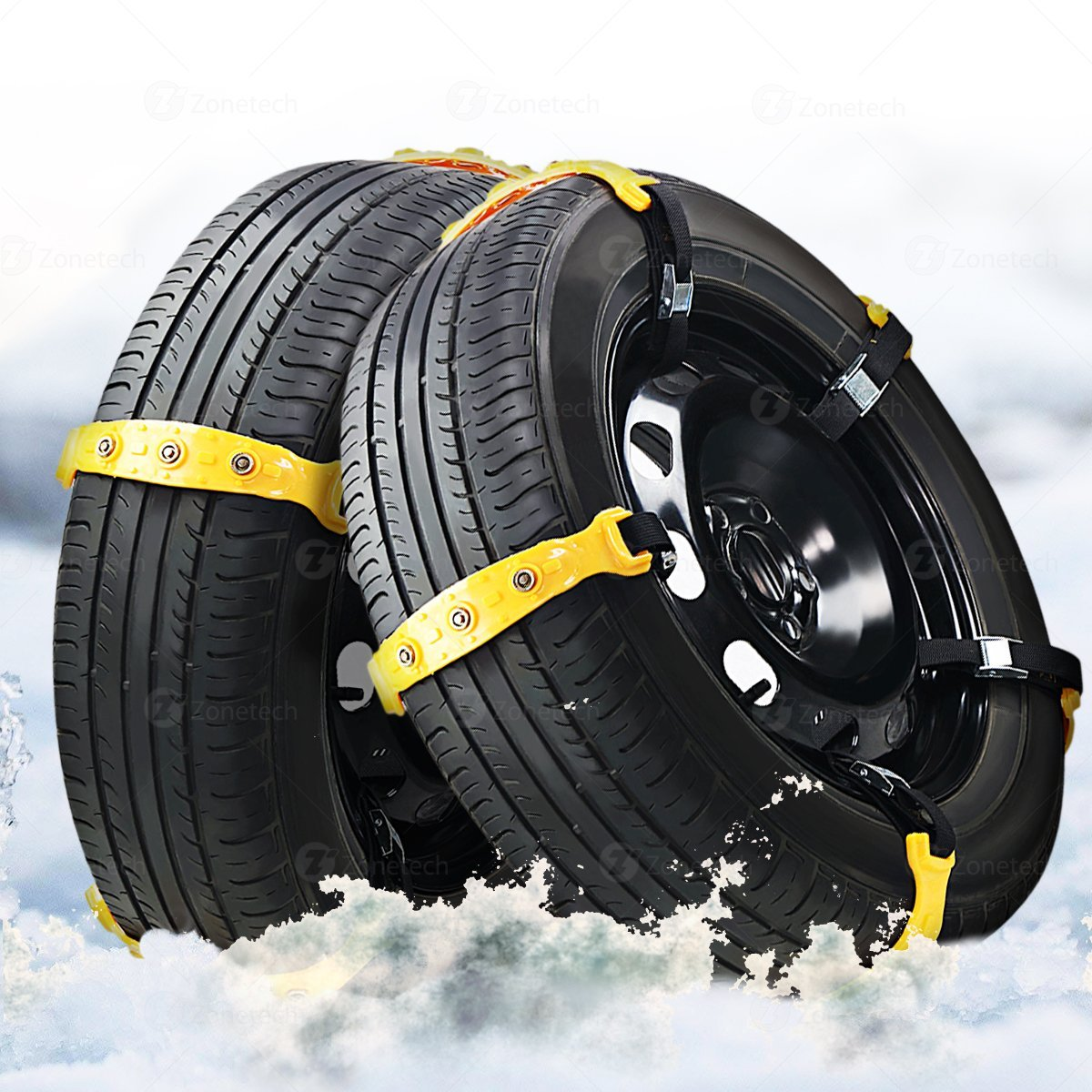 Zone Tech Car Snow Chains 10 Peices - Premium Quality Strong Durable All Season Anti-Skid Car, SUV, and Pick Up Tire Chains for Emergencies and Road Trip