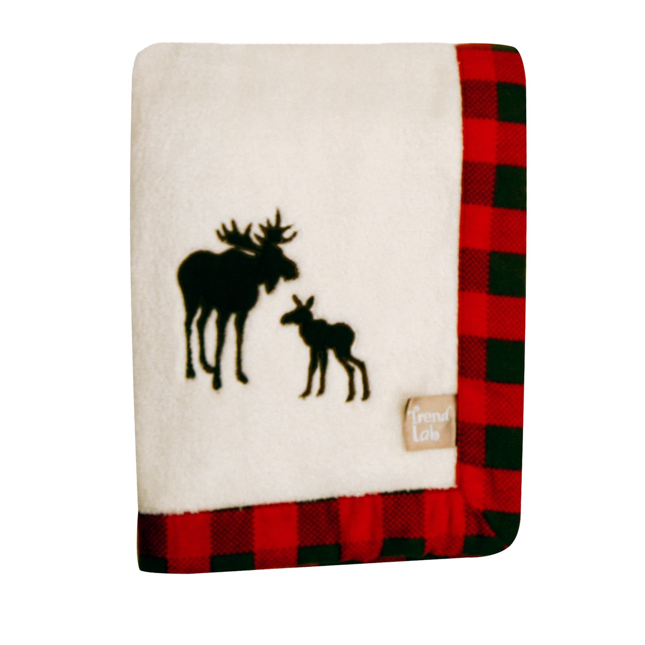 N2 Beautiful White Red Black Moose Framed Deluxe Fleece Blanket, Animal Themed Nursery Bedding, Infant Child Warm Comfortable Woods Solid Color Checkered Pattern Cute Adorable, Cotton