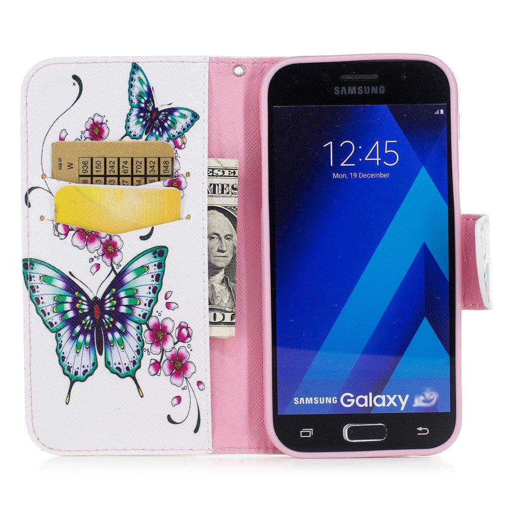 Kickstand Galaxy A5 2017 Case LEECOCO Embossed Floral Wallet Case with Card Cash Holder Slots Wrist Strap Premium PU Leather Folio Flip Slim Case Cover for Samsung Galaxy A5 2017 Rattan Rose Gold