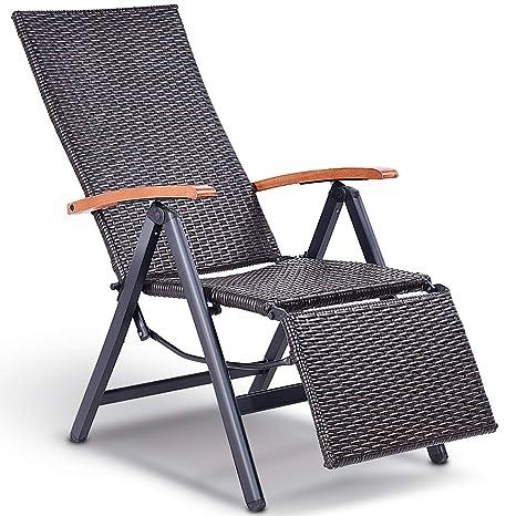 6ebeacce43 Tangkula Adjustable Chaise Lounge Chair Folding Reclining Beach Yard Pool  Rattan Chair