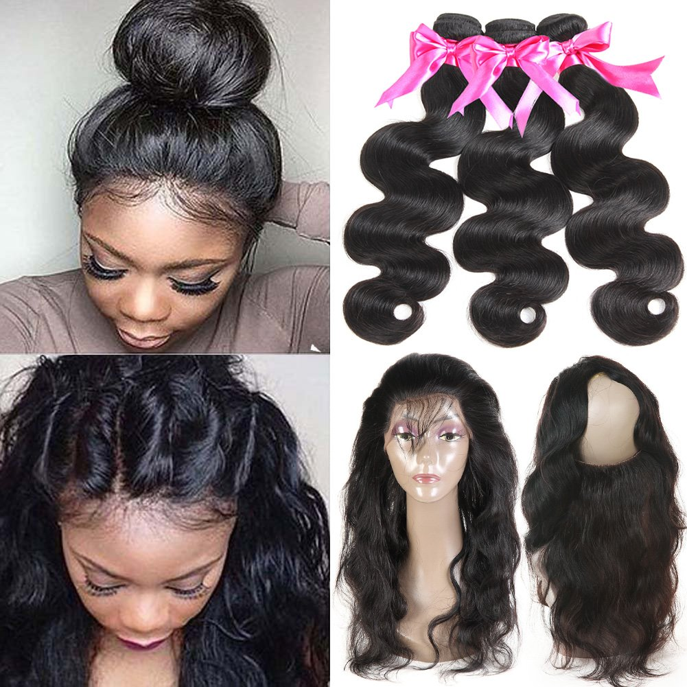 360 Lace Frontal with Bundles Brazilian Body Wave Virgin Hair with Frontal Closure 360 Lace Band with Baby Hair Natural Black Color 16 18 20+14inch