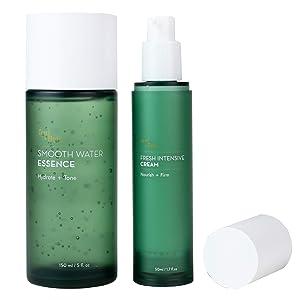 Feuillete Korean Skin Care Set   Hydrating Toner, Water Cream Moisturizer   Hydrating, Brightening, Anti Aging, Balancing   For Dry, Oily, Acne Prone, Sensitive Skin   Oil Free, Fragrance Free