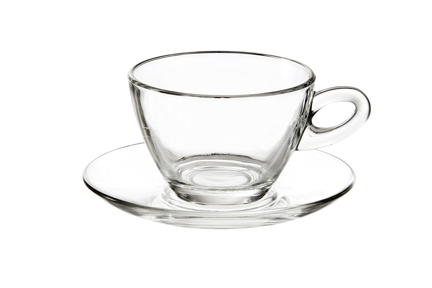 Eddingtons Glass Cappuccino Cup & Saucer, 300ml, Set of 2 Perfectly Clear 47118200