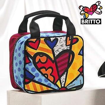 db77886248df Giftcorp - Romero Britto Satin Heart Cosmetic Tote Bag Travel ...