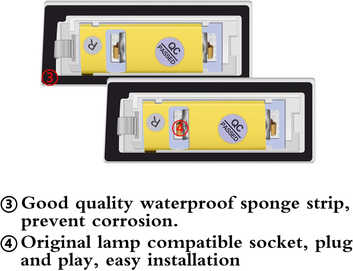 2 pezzi WinPower LED Luce targa per TT 8N Roadster Coupe 1999-2006 18SMD Nessun errore