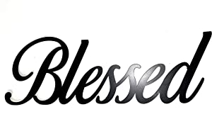 Blessed Metal Wall Word Black Inspirational Home Decor by Sunny Berry Co