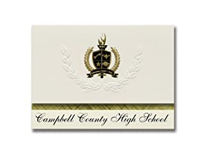 Signature Announcements Campbell County High School (Gillette, WY) Graduation Announcements, Presidential style, Basic package of 25 with Gold & Black Metallic Foil seal