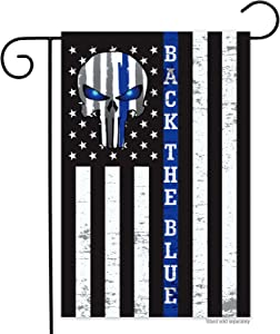 RODAOA Thin Blue Line Punisher Police Garden Flag- Double Sided Back The Blue Support Police Punisher Skull Flags Banner 12x18 Inch Weather Resistant