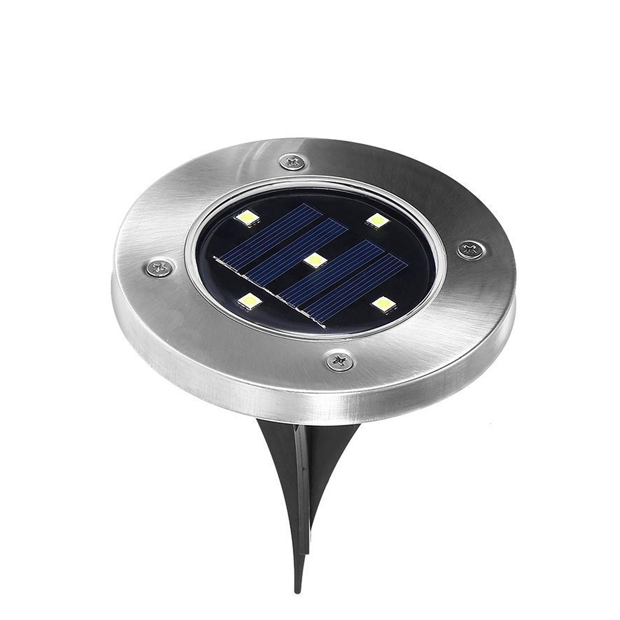 Solar Ground Lights Outdoor, 5LED Waterproof Landscape Lights Disk Lights Solar Garden Lights with Dark Sensing for Lawn Pathway Yard Driveway Walkway Pool Area, White×1pack