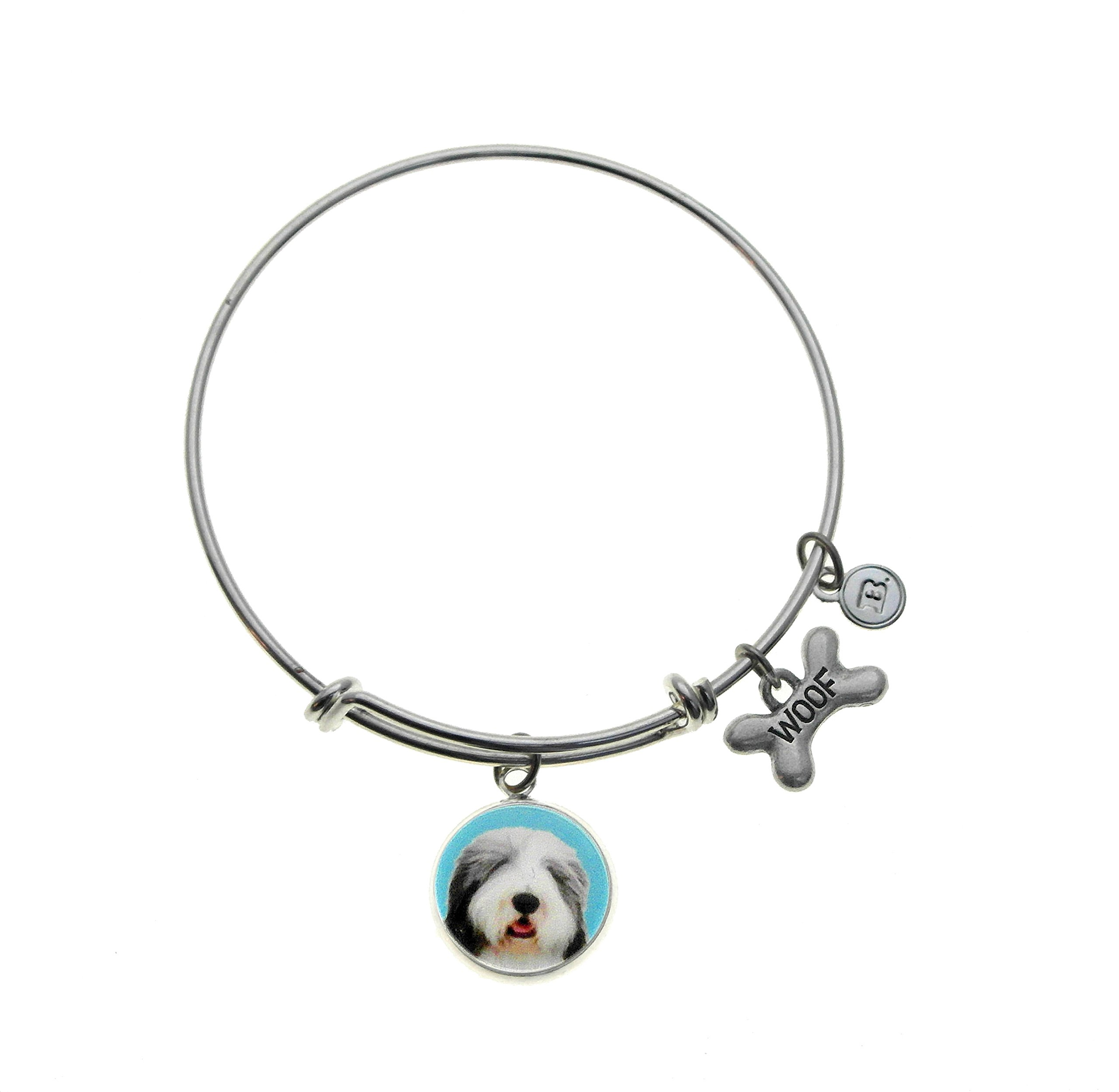 Top Dogs Bearded Collie Charm Silver Plated Adjustable Bangle Bracelet
