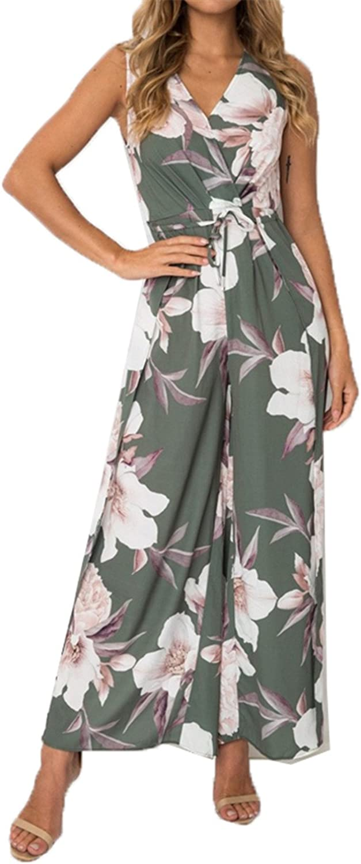 HANBINGPO V Neck Floral Print Boho Womens High Waist Split Wide Leg Jumpsuit Summer