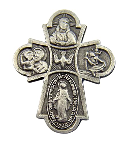 Fine Pewter Catholic 4 Way Cross Medal Lapel Pin Pendant, 1 Inch