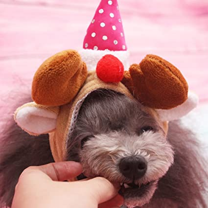 Glumes Christmas Cat Dog Hat Lovely Pet Antler For Cats Party Clothes