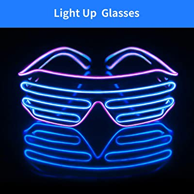 Light Up EL Wire Neon Shutter Glasses Flashing LED Rave Sunglasses for 80s, EDM, Parties Decorations(Purple+Blue): Toys & Games