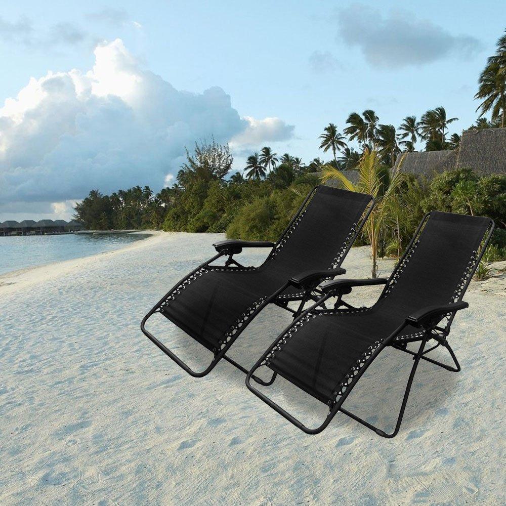 PARTYSAVING Infinity Zero Gravity Outdoor Lounge Patio Folding Reclining Chair Black Set of 2 APL1001