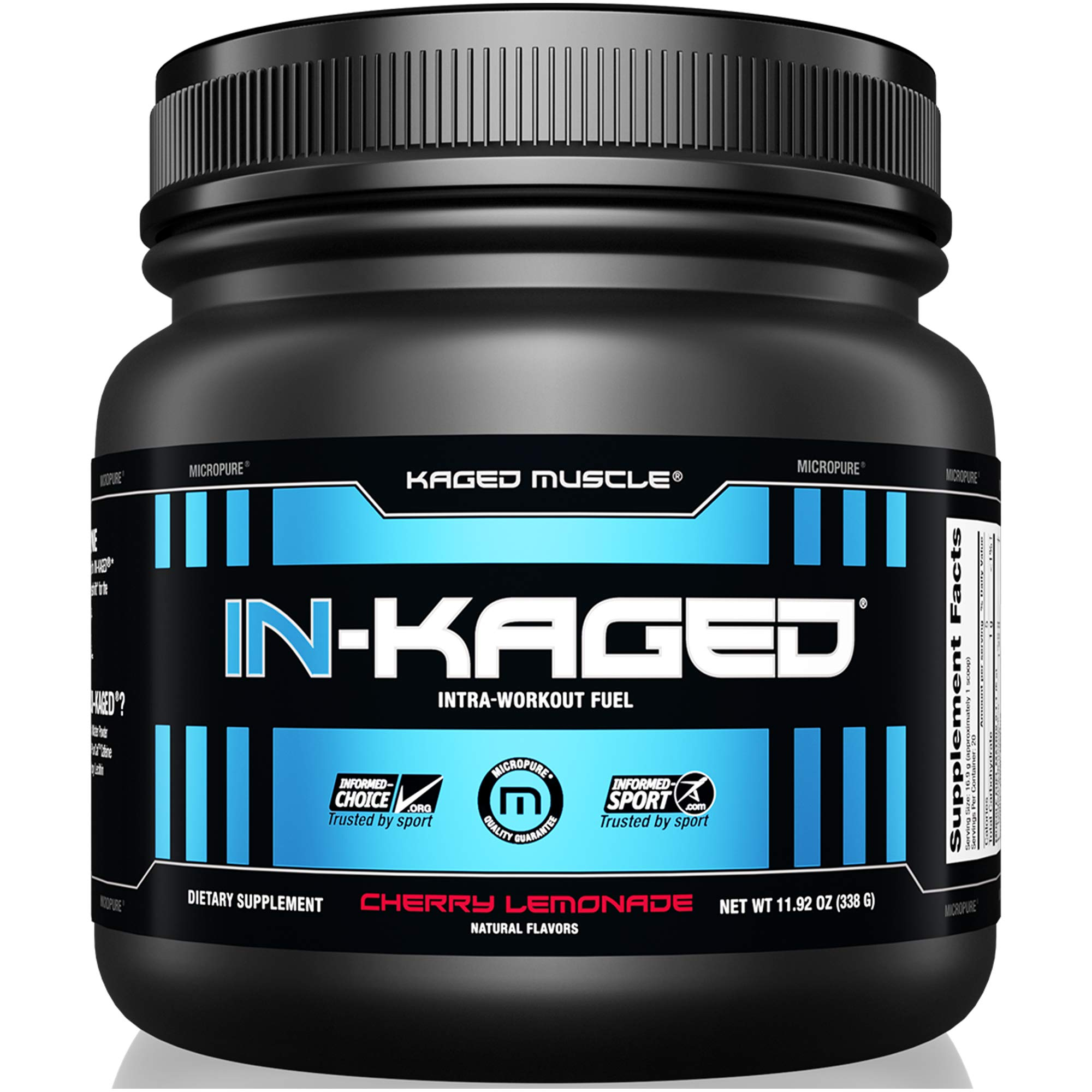KAGED MUSCLE, IN-KAGED Intra Workout Powder, Intra-Workout Fuel, L-Citrulline, Workout, Boost Energy, Muscle Pump, Intra Workout, Cherry Lemonade, 20 Servings by Kaged Muscle
