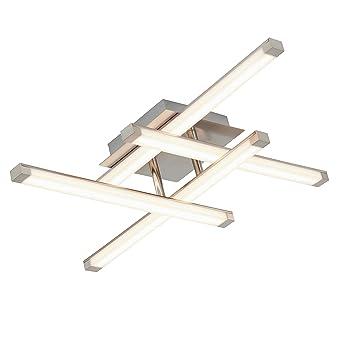 Briloner Leuchten LED Deckenleuchte, Decken-Strahler / Lampe, 4-flammige  Wohn- & Schlafzimmer-Lampe, blendfreie LED-Stäbe, 20 W, 55 x 55 x 11.5 cm