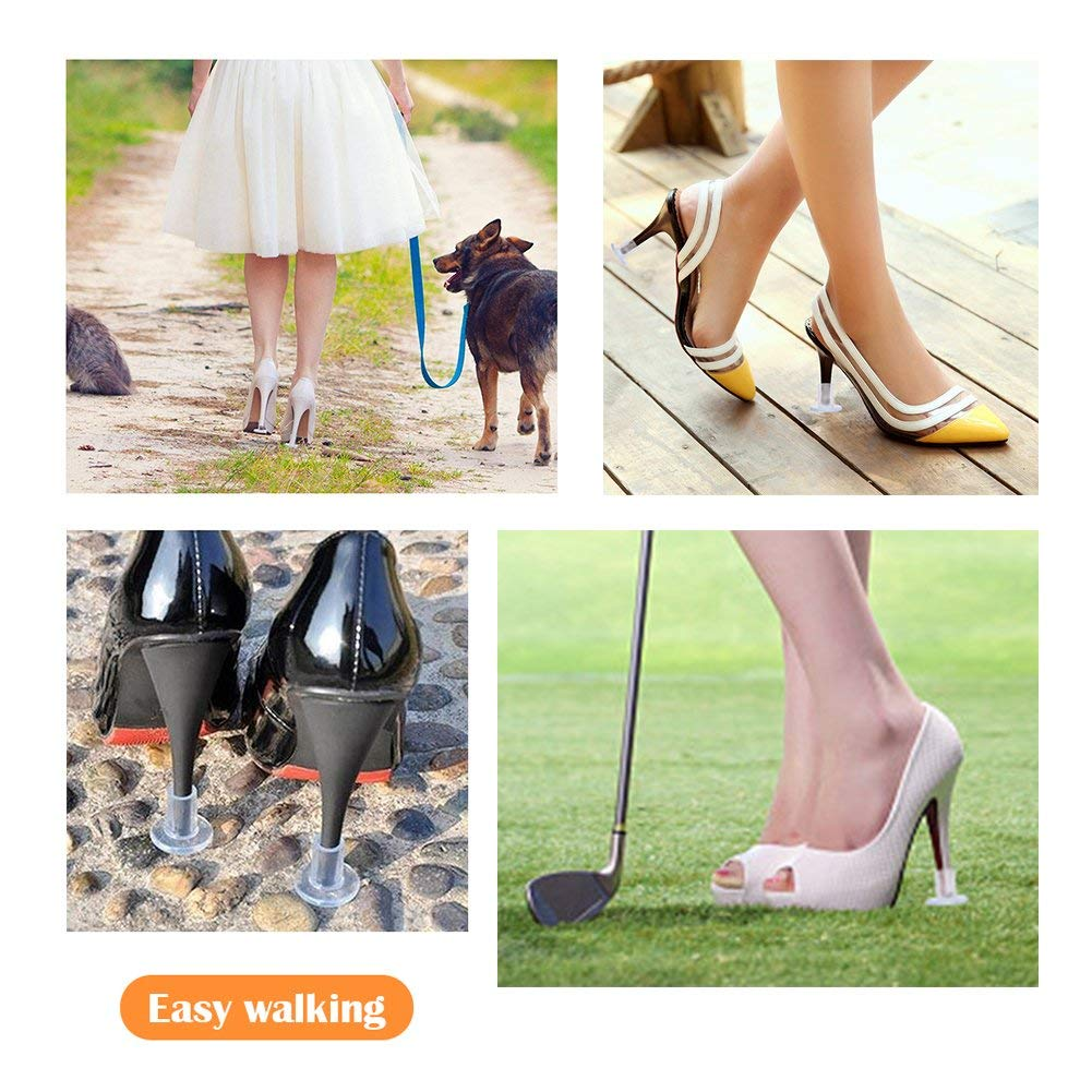 【2019 New】High Heel Protectors 12 Pairs Heel Stoppers for Grass Wedding or Outdoor Events Womens Shoes New Design Small//Middle//Large Size Clear Heel Stopper