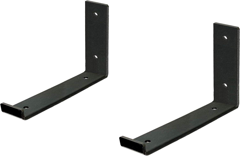 "6 Packs Black Wall Hook Iron Shelf Brackets with Lip Bracket 10/""L x 6/""H x 1½/""W"
