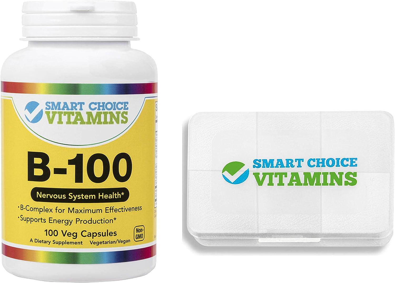 Smart Choice Vitamins B-100 Complex 100 Vegetarian Capsules and Pocket Pill Box