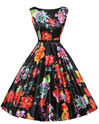 Women Floral Print Vintage Polka Dot Elegant Sleeveless Party dress