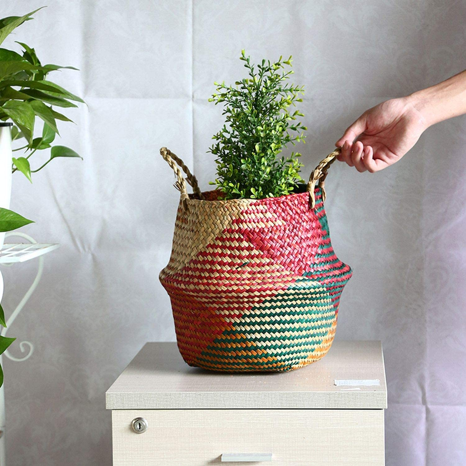 17/'/'x11/'/' Foldable Belly Seagrass Woven Plant Flower Basket Storage Shopping