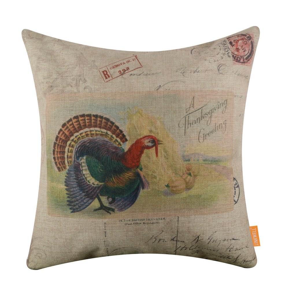 LINKWELL 18x18 inches A Thanksgiving Greetings Turkey Autumn Burlap Throw Cushion Cover Pillow Cover CC1380