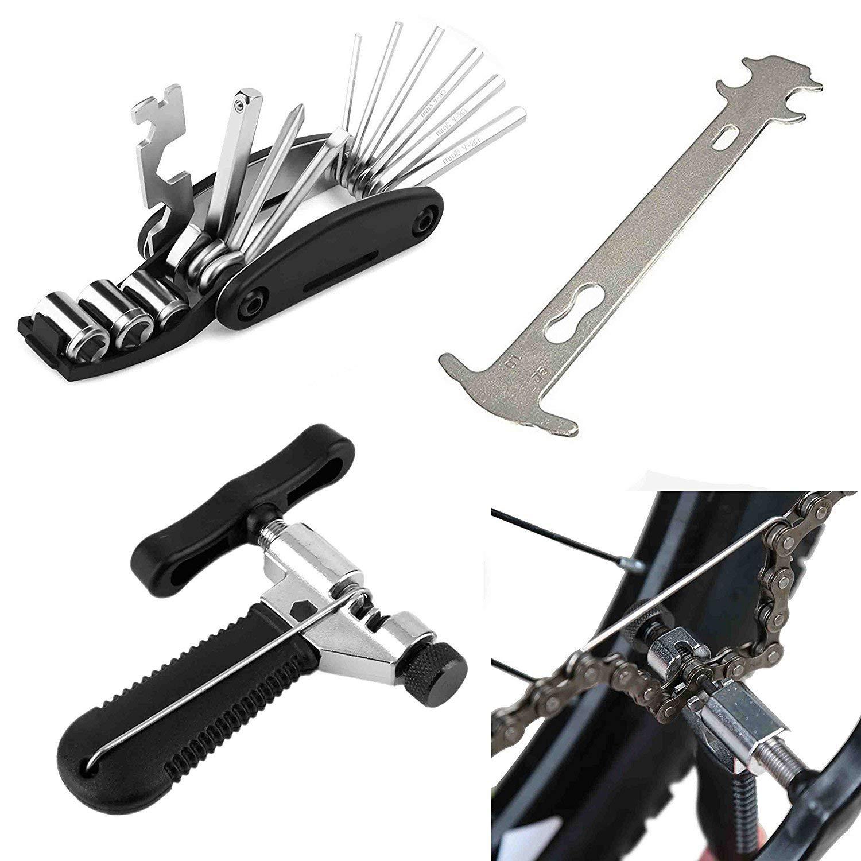 herramienta multifunci/ón 16 en 1 Lncboc Kits de herramientas de reparaci/ón de bicicletas,divisor de cadena universal conector de enlace de cadena indicador de desgaste de la cadena