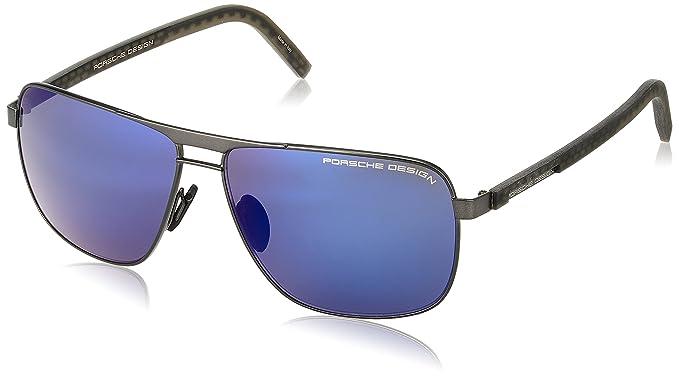 2cbf66e6adde Porsche Design P8639 C 63mm Grey Blue Mirror Designer Sunglasses w  Extra  Lenses at Amazon Men s Clothing store