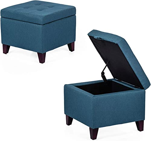 Asense Fabric Square Storage Ottoman Cube Upholstered Foot Rest Stool