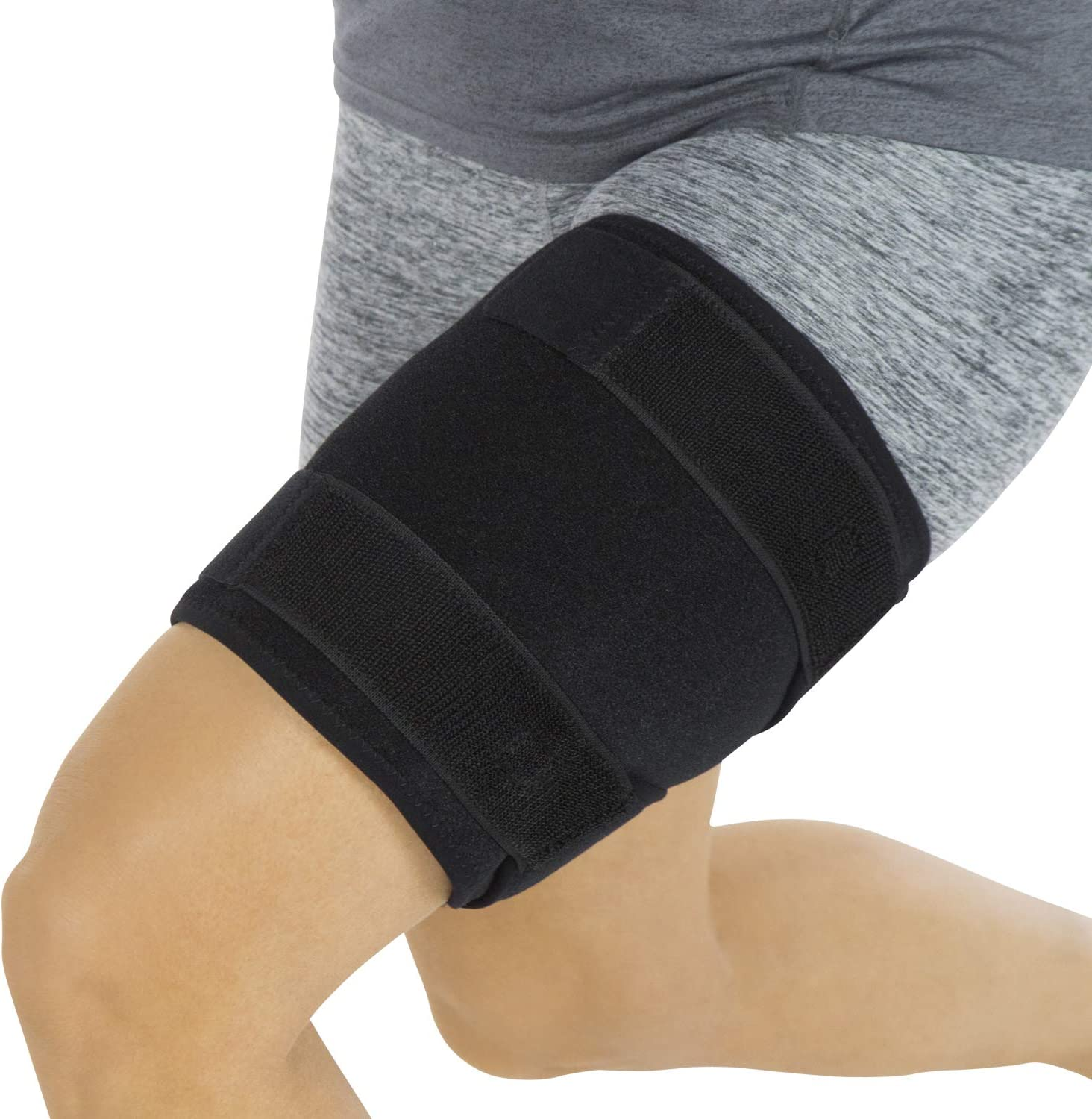 Vive Thigh Brace - Hamstring Quad Wrap - Adjustable Compression Sleeve Support for Pulled Groin Muscle, Sprains, Quadricep, Tendinitis, Workouts, Cellulite Slimmer, Sports Injury Recovery - Men, Women: Sports & Outdoors