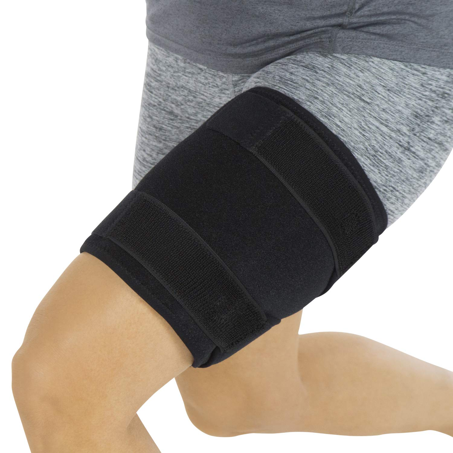 Vive Thigh Brace - Hamstring Quad Wrap - Adjustable Compression Sleeve Support for Pulled Groin Muscle