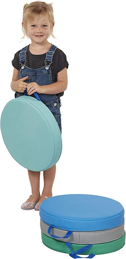 Round 6-Pack Assorted Flex Seating for Teachers and Students 2 Thick Foam Sit Circles for Kids ECR4Kids SoftZone Floor Cushions with Handles