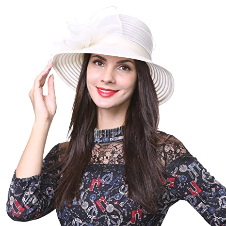 dea2a4dda6c ... Bucket Hat S051 (Black  Ascot Derby Bowler Church Cloche Hat Bowknot  Bridal Dress Party Cap S051 (Apricot) Amazon  June s young Women Hats ...