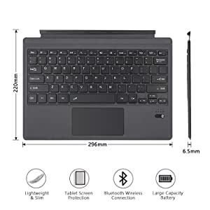 Tomsenn Surface Pro 6 / Surface Pro 5 (Pro 2017) / Pro 4 / Pro 3 Type Cover, Lightweight Slim Wireless Bluetooth Keyboard Two Button Trackpad Built-in Rechargeable Battery, Gray (Color: Black color)