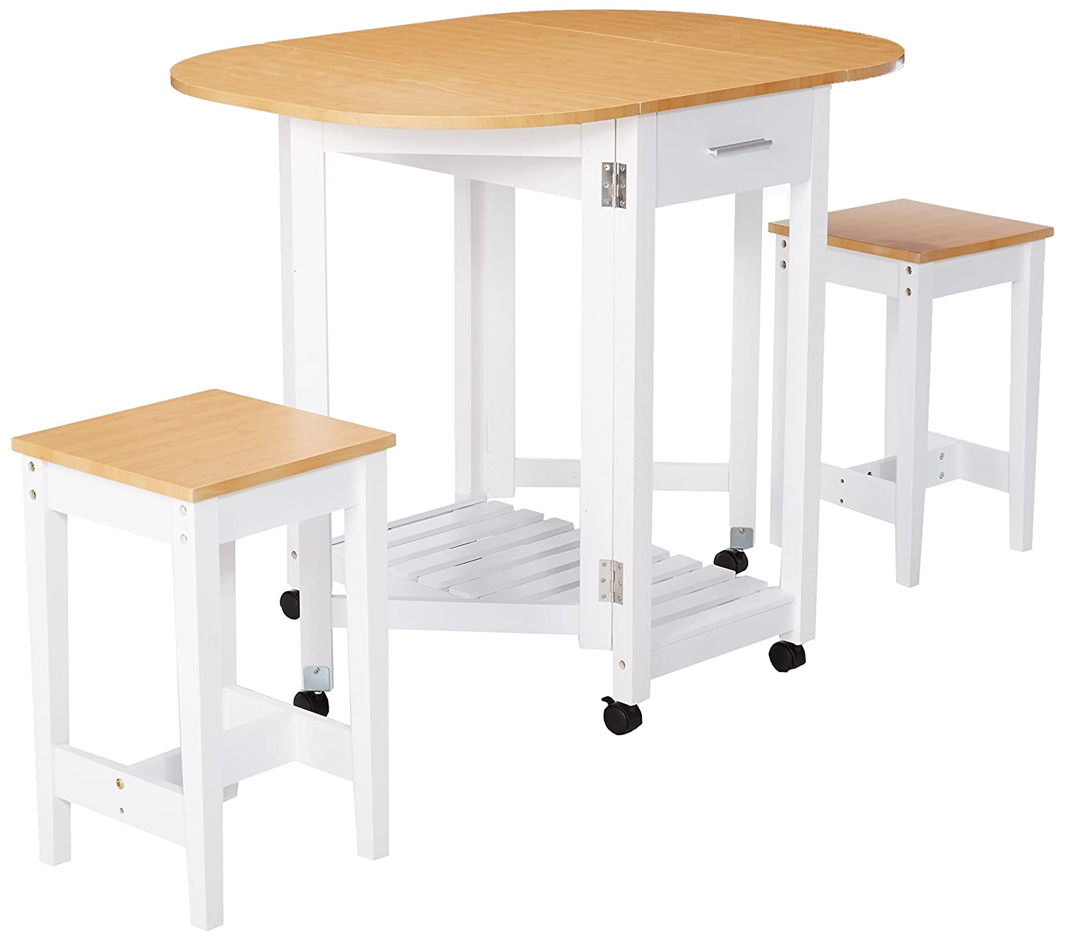 Basicwise QI003279.3 3 Piece Kitchen Breakfast Bar Set with casters, Drop Down Island Table with 2 Stools