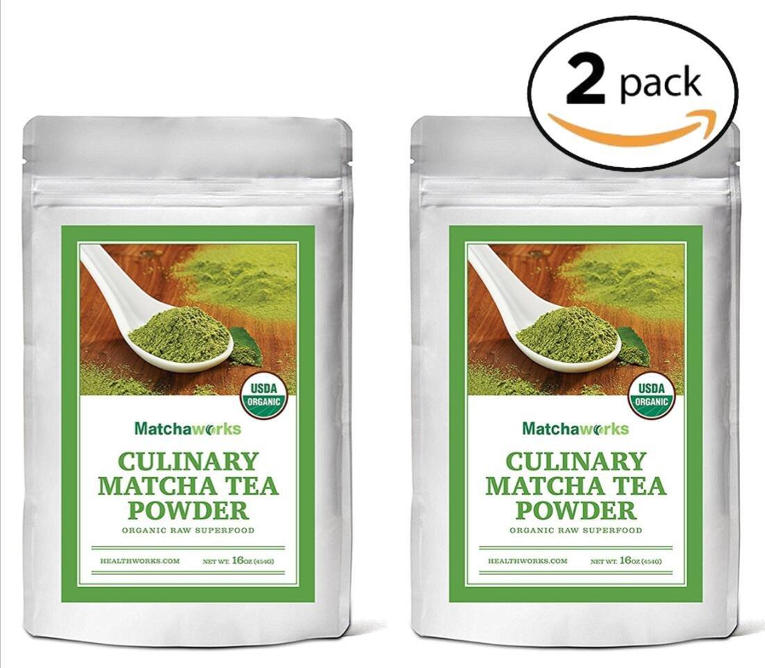 Matchaworks Matcha Green Tea Powder Organic, Culinary Grade, 2lb (2 1lb Packs)