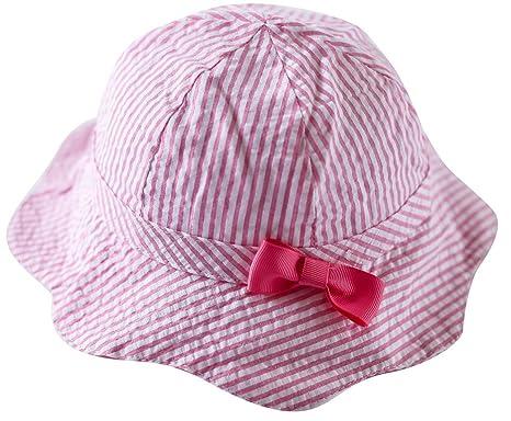 Happy Cherry Chapeau de Soleil Bonnet Rayé Rose Nœud Papillons Princesse  Cordon pour Bébé Enfant Fille 1811af6388c