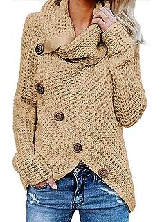 Viahwyt Womens Casual Plain Cowl Neck Sweatshirt Ladies Long Sleeve Button Down Pullover T Shirt Wrap Tops Blouse